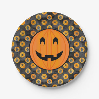 Halloween Theme,Pumpkin w/ Haunted House & Spiders Paper Plate