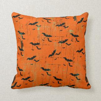 Halloween Throw Pillows   Black Bats On Orange