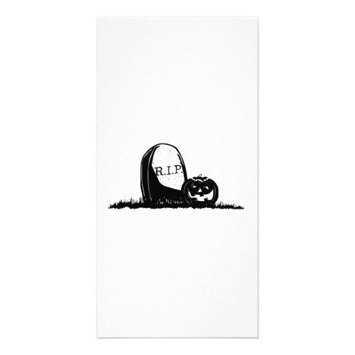 Halloween Tombstone and Pumpkin Photo Card