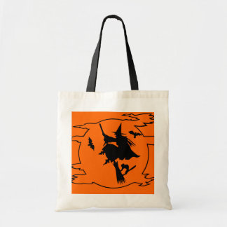 Halloween tote bag with witch on broom design