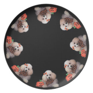 Halloween toy poodle dog dinner plate