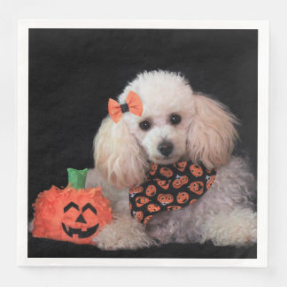 Halloween Toy poodle paper napkins