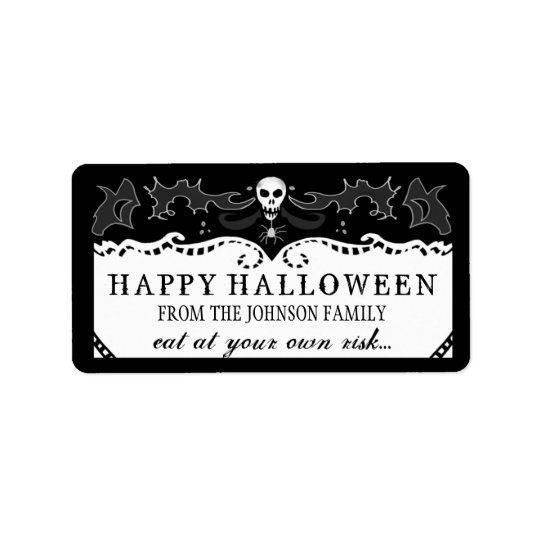 Halloween Treats Label - Black & White Skull Address Label