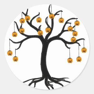 Halloween Tree Jackolanterns Round Sticker