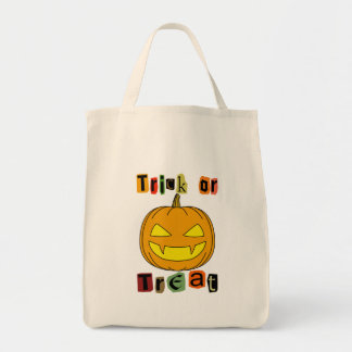 Halloween Trick or Treat Grocery Tote Bag