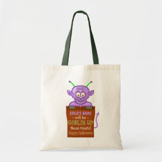 Halloween Trick or Treat Kids Custom Cute Goblin Budget Tote Bag