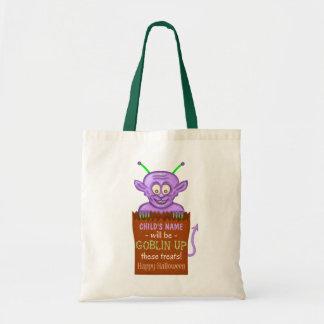 Halloween Trick or Treat Kids Custom Cute Goblin Budget Tote Bag