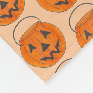 Halloween Trick or Treat Orange Pumpkin Print Fleece Blanket