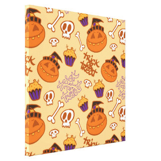 Halloween Trick-or-Treat Pattern Gallery Wrapped Canvas