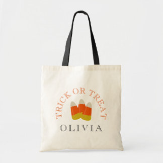 Halloween Trick or Treat Personalized Candy Corn Tote Bag