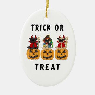 Halloween Trick or Treat Pug Dogs Ceramic Oval Decoration