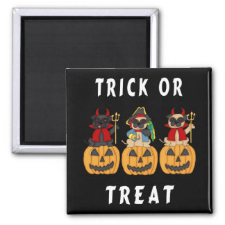 Halloween Trick or Treat Pug Dogs Square Magnet