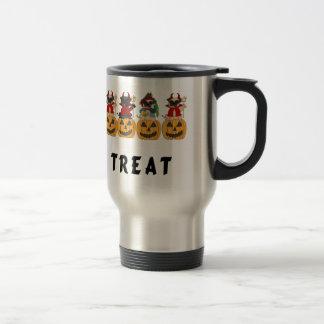 Halloween Trick or Treat Pug Dogs Stainless Steel Travel Mug