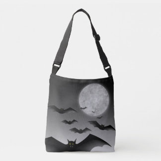 Halloween Trick-or-Treat Tote with Bats and Moon
