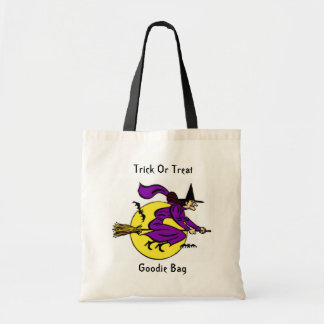 Halloween Trick Or Treat Witch Flying By Full Moon Budget Tote Bag