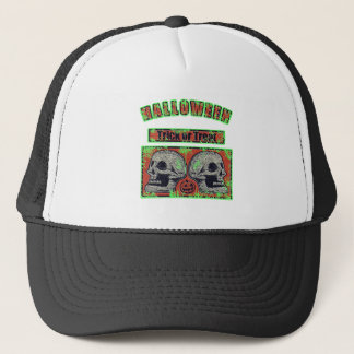 Halloween -Trick Or Treat Worn Green Trucker Hat