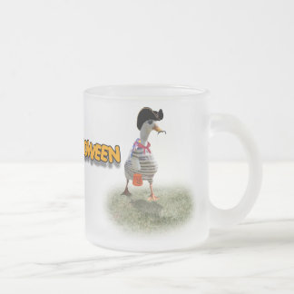 Halloween Trick or Treating Pirate Duck Frosted Glass Coffee Mug