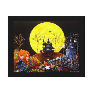 Halloween Trick Treat Church Graveyard Ghosts Stretched Canvas Print
