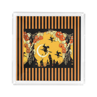 Halloween Trick Treat Party Orange Black Witches Acrylic Tray