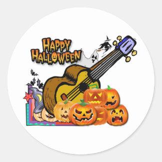 Halloween Ukulele Classic Round Sticker