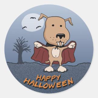 Halloween Vampire Dog stickers: Count Barkula Round Sticker