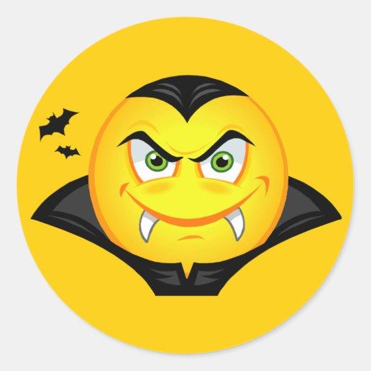 Halloween Vampire Smiley Round Sticker