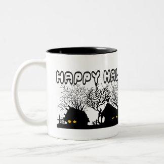 Halloween village coffee mugs