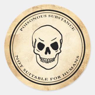 Halloween vintage alchemy poison skull label round sticker