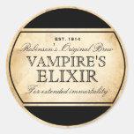 Halloween vintage alchemy Vampire's Elixir label Round Sticker