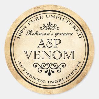 Halloween vintage apothecary asp venom label round sticker
