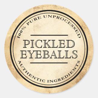 Halloween vintage apothecary pickled eyeball label round sticker