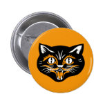 Halloween Vintage Cat Face 6 Cm Round Badge