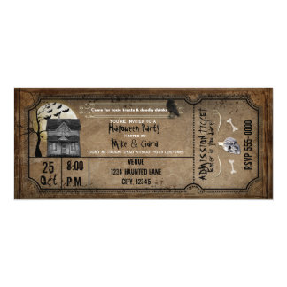 Halloween Vintage Haunted House Ticket Invitation