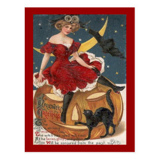 Halloween Vintage Lady in Red on Jack o' Lantern Postcard