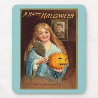 Halloween Vintage Lady With Mirror Mousepads