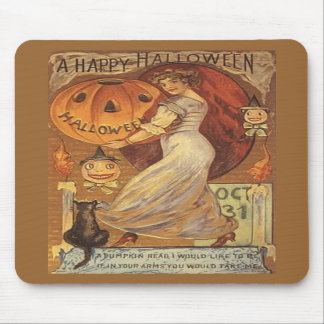 Halloween Vintage Woman and Jack o' Lantern Mouse Pads