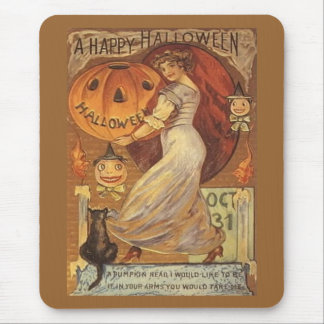 Halloween Vintage Woman and Jack o' Lantern Mouse Pad