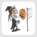 Halloween Volleyball Square Stickers