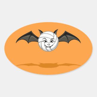 Halloween Volleyball Vampire Bat Oval Sticker