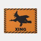 Halloween Warning Witch Crossing Doormat