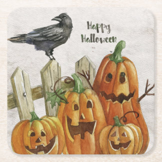 Halloween Watercolor Happy Pumpkins Square Paper Coaster