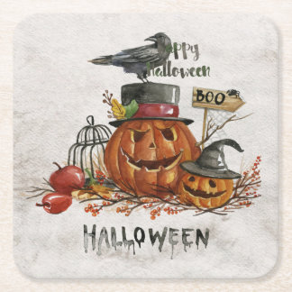 Halloween Watercolor Scary Pumpkins Square Paper Coaster