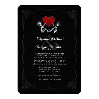 Halloween Wed Skeletons Heart Summon You Costumes 13 Cm X 18 Cm Invitation Card