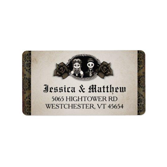 Halloween Wedding Antique Skeletons Cameo Roses Label
