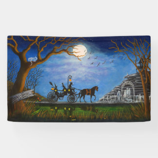 Halloween wedding banner, witch and wizard