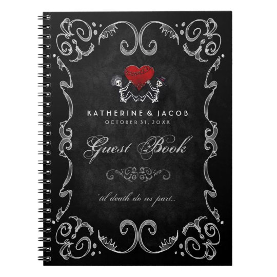 Halloween Wedding Guest Book Skeletons & Red Heart