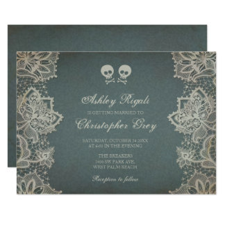 Halloween Wedding Invitation - Vintage Grey
