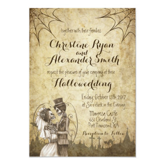 Halloween Wedding Invitation with Skeleton Couple
