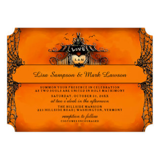 Halloween Wedding Invite - Orange & Black Love Announcement