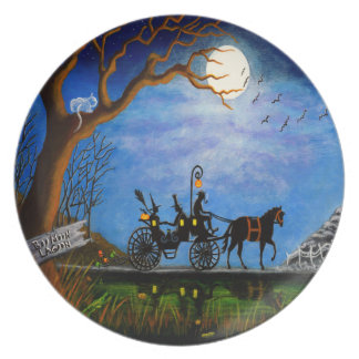 "Halloween wedding party plate""Halloween Honeymoon"" Plate"